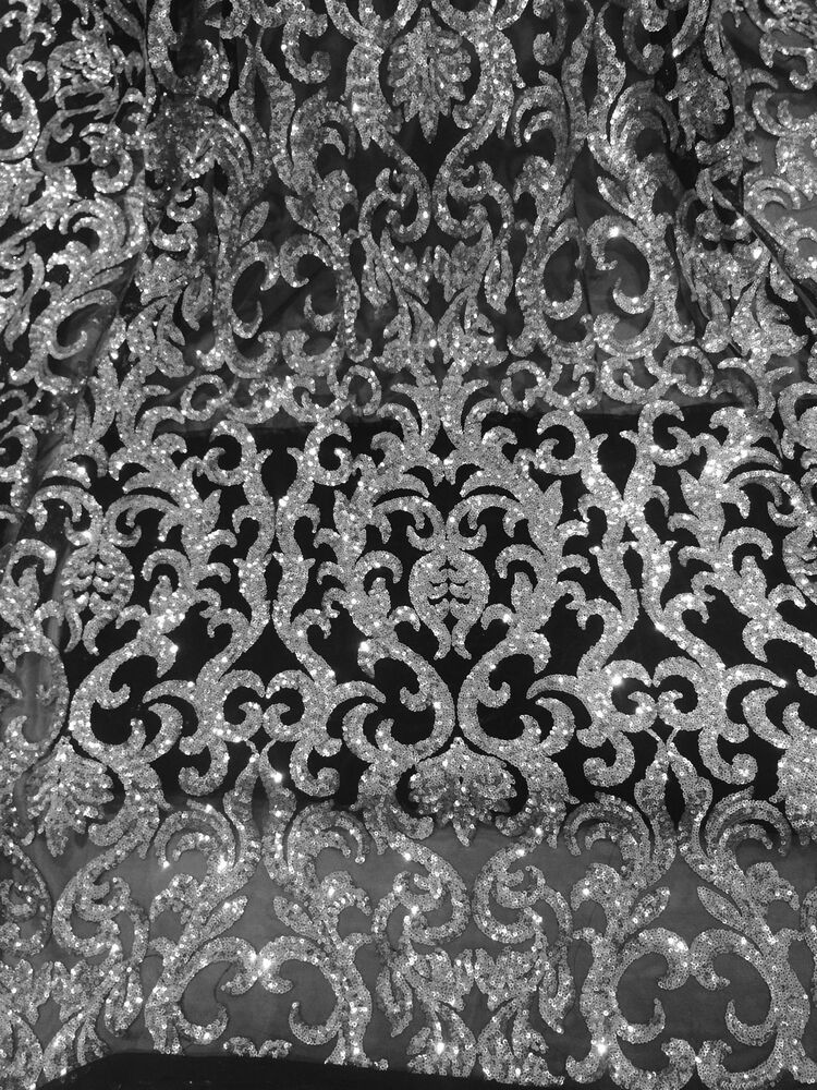BLACK STRETCH MESH W/SILVER SEQUIN EMBROIDERY LACE FABRIC ...