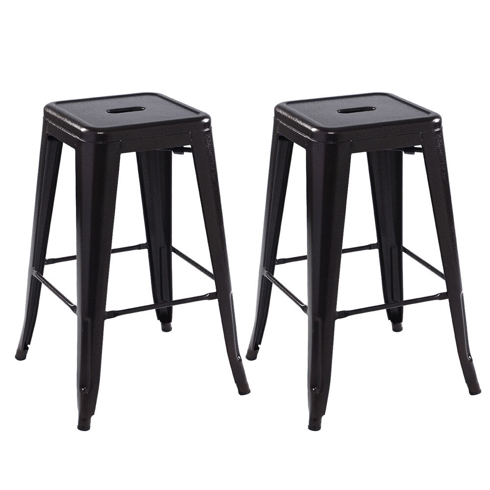 Antique Bar Stools ~ Set of metal steel bar stools vintage antique style