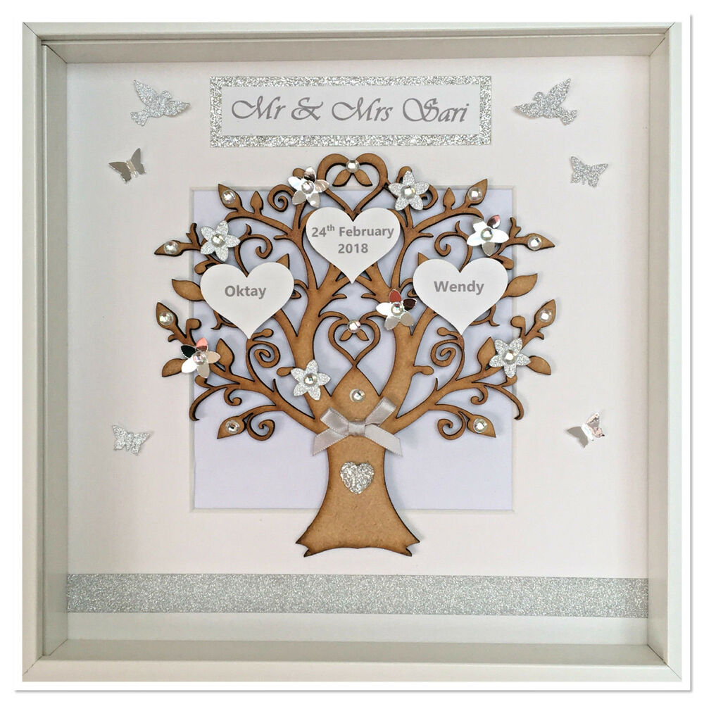 Family Tree Wedding Gift: Personalised Family Tree Picture Frame Keepsake Glitter