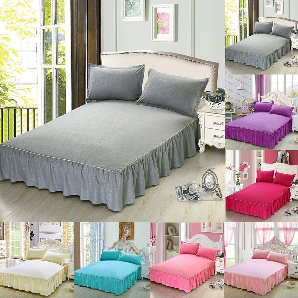 Bed Skirt Fitted Sheet Dust Ruffle Drop Cover With Pillow