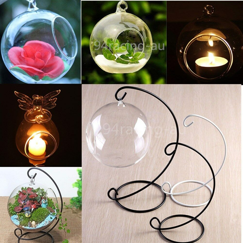 Outdoor Hanging Tea Lights: Glass Round Hanging Candle Tea Light Holder Candlestick