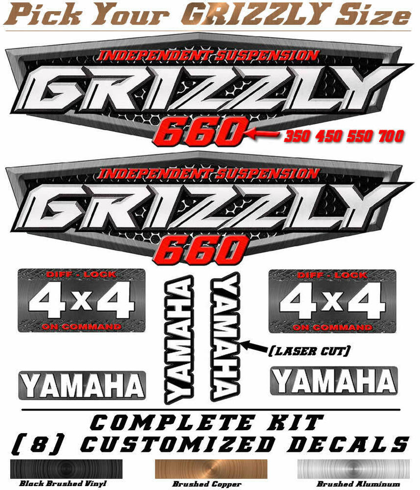 Yamaha Grizzly 660 >> Yamaha Grizzly OEM ATV Tank Decal Graphic Sticker Kit 350 450 550 660 700 | eBay