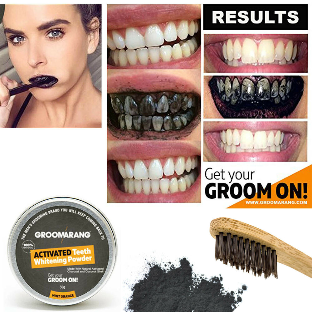 groomarang activated charcoal teeth tooth whitening powder mint natural organic ebay. Black Bedroom Furniture Sets. Home Design Ideas
