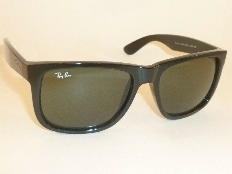 7938d701c6 Details about New RAY BAN Justin Sunglasses Shiny Black Frame RB 4165 601 71  Green Lenses 54mm