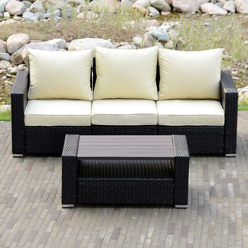 Diy outdoor patio sofa sectional furniture pe wicker for Sofa outdoor