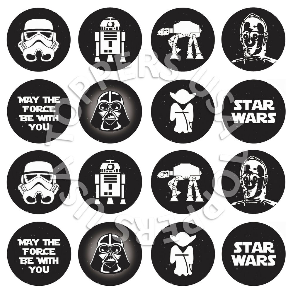 16x EDIBLE Star Wars Birthday Party Cupcake Toppers Wafer ...