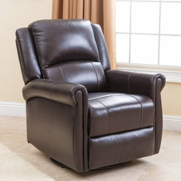 Brown Leather Swivel Glider Nursery Recliner Chair Arm
