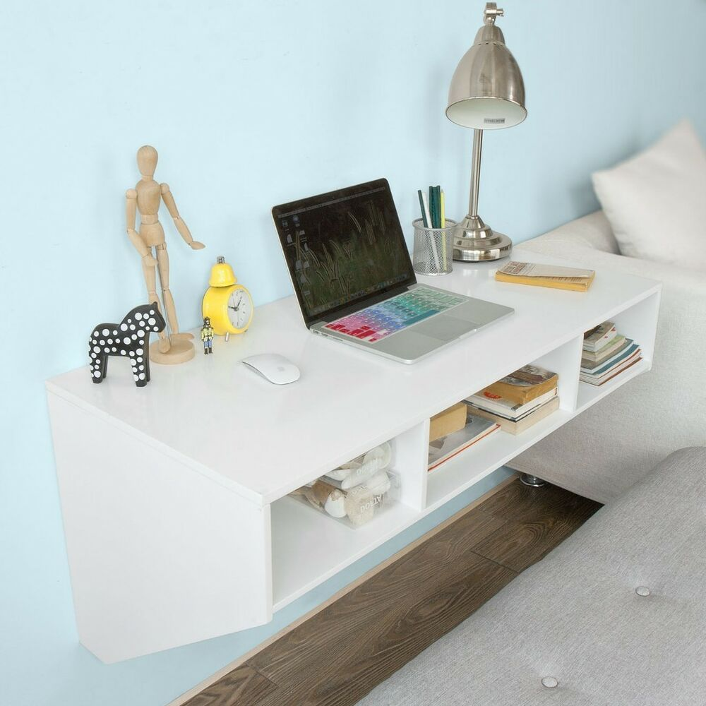 white computer desk with shelves space saving wooden wall. Black Bedroom Furniture Sets. Home Design Ideas