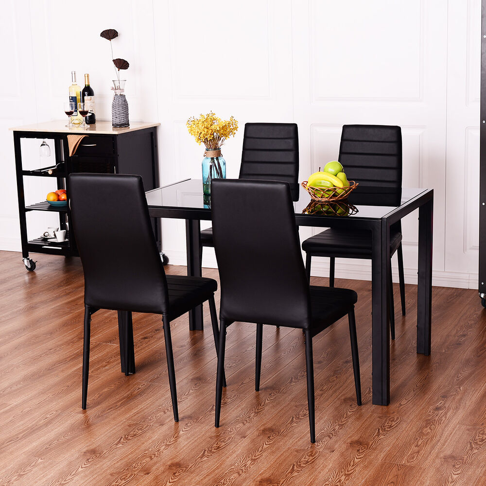 5 piece dining set tempered glass table and 4 chairs for 4 piece kitchen table set