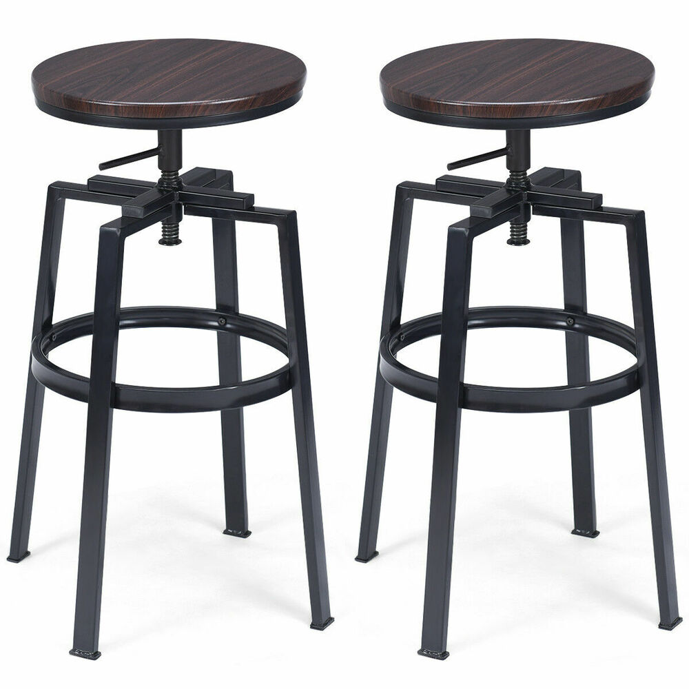 Set Of 2 Vintage Bar Stool Adjustable Wood Metal Design