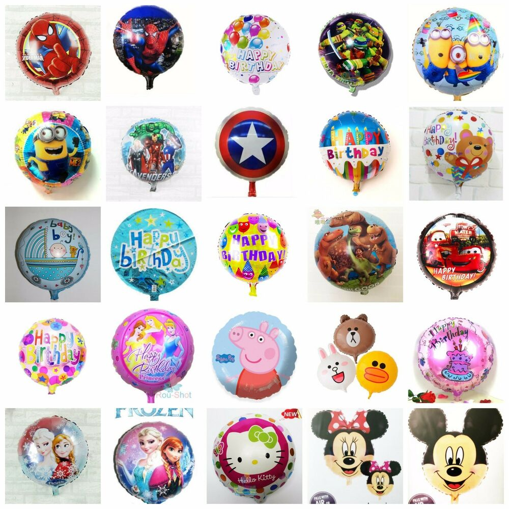 Details About 18 HAPPY BIRTHDAY CHARACTERS ROUND FOIL BALLOONS FOR BIRTHDAYS CHILD PARTY