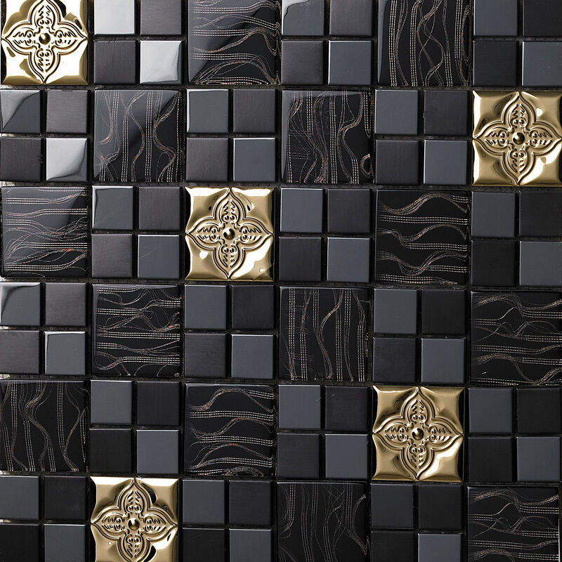 Black Gold Glass Metal Flower Kitchen Backsplash Bathroom