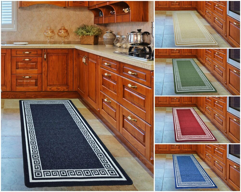 Kitchen Floor Non-Slip Mat Machine Washable Rubber Back