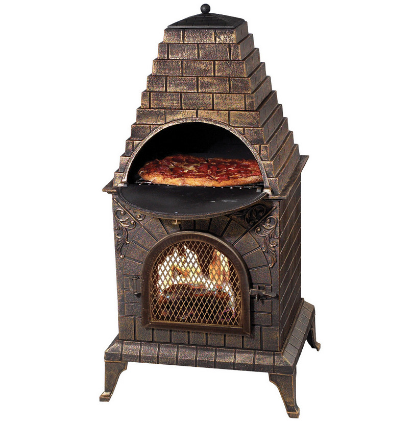 outdoor wood fired pizza oven fireplace barbecue chiminea bronze finish ebay. Black Bedroom Furniture Sets. Home Design Ideas