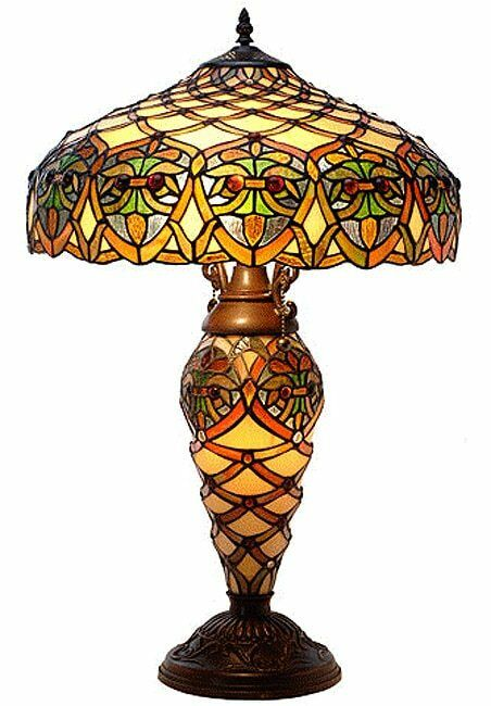 Table Lamp Stained Glass 2 Light Lit Base Tiffany Style