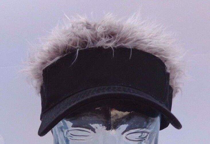 baseball cap hair attached brand new hat black with wild gray visor