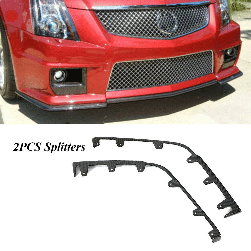 2018 Cadillac Cts V Exterior: Carbon Fiber Front Bumper Lip Side Splitter Fit For