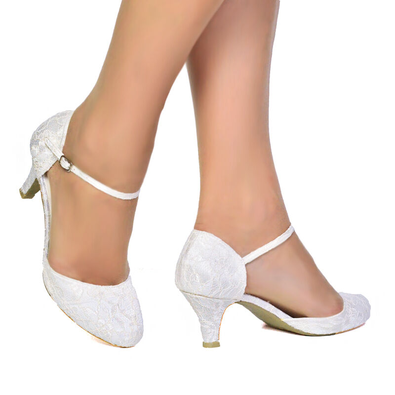 Womens ivory satin lace low heel mary jane bridal for Low heel dress shoes wedding