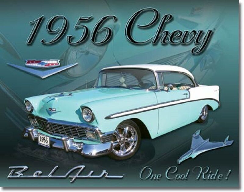 1956 Chevy Bel Air Tin Sign Chevrolet Antique Diner Wall Decor Metal