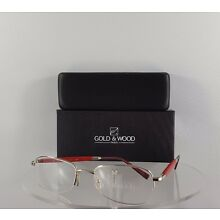 Brand New Authentic Gold and Wood 369 16 Half Frame Red Silver Made in Lux