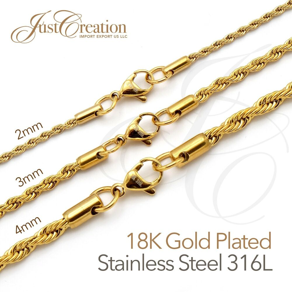 Gold Plated 18k Stainless Steel 316l 2mm 3mm 4mm Rope