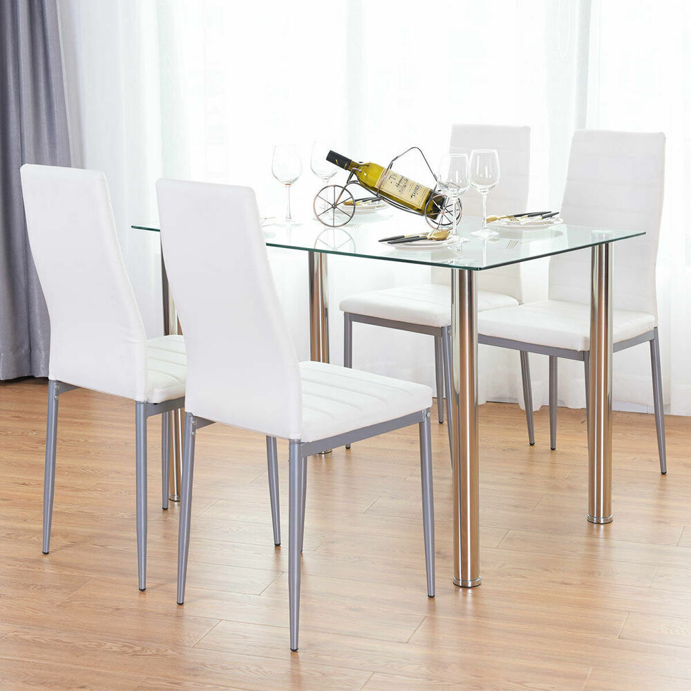 5 piece dining set table and 4 chairs glass metal kitchen for 4 kitchen table chairs