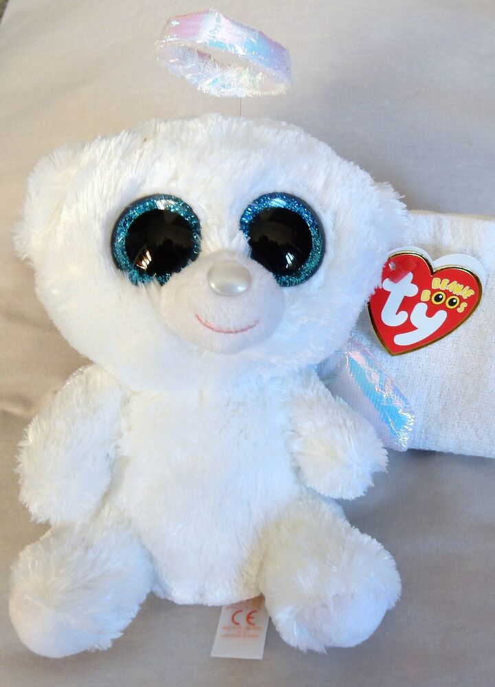 Halo The Angel Bear 6 Inch Ty Beanie Boo New With Mint