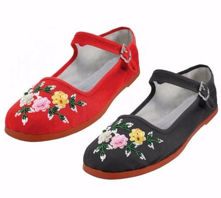 Black Velvet Mary Jane Chinese Shoes
