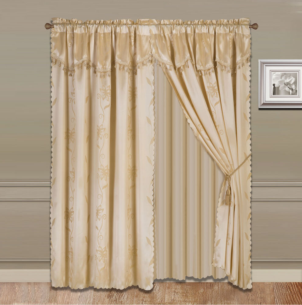 8 Piece Gold Nada Luxury Faux Jacquard Floral Panel Window