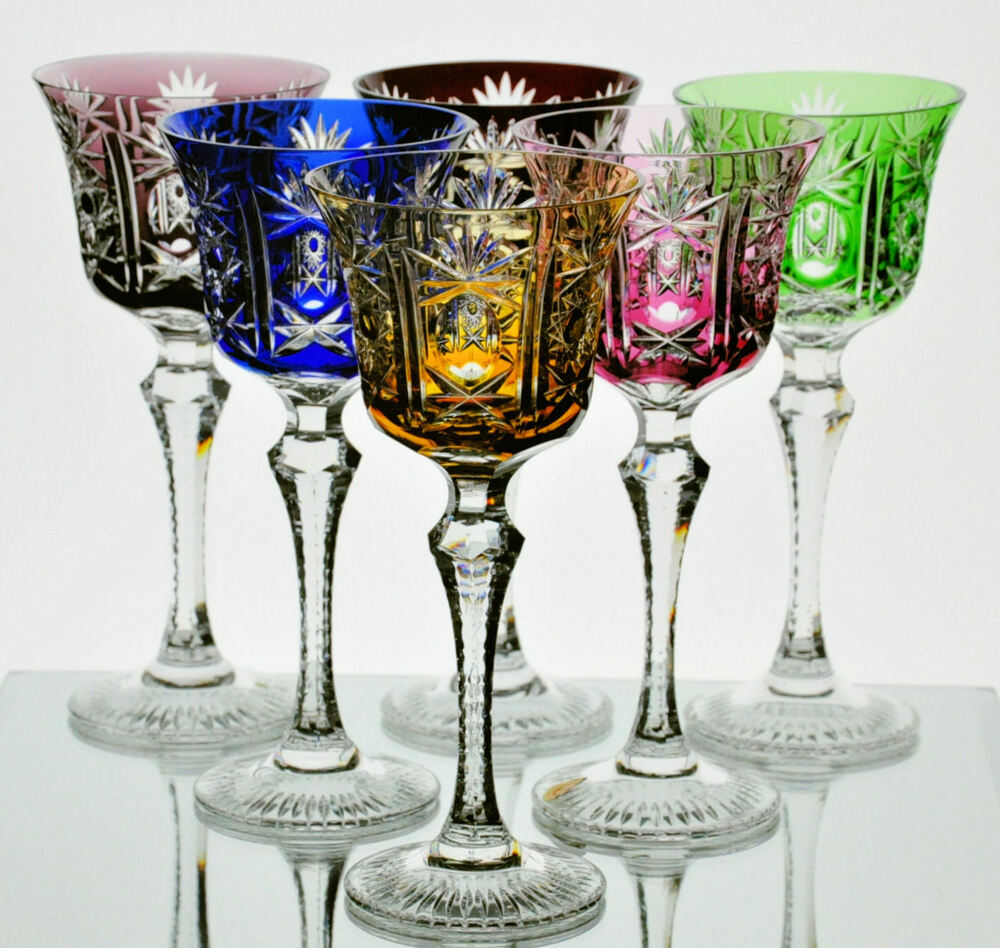 6 German Multi Color Cut to Clear Cased Crystal Wine ...