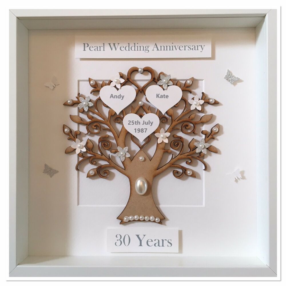 Gifts For Wedding Anniversaries: Personalised 30th Pearl Wedding Anniversary Gift Family
