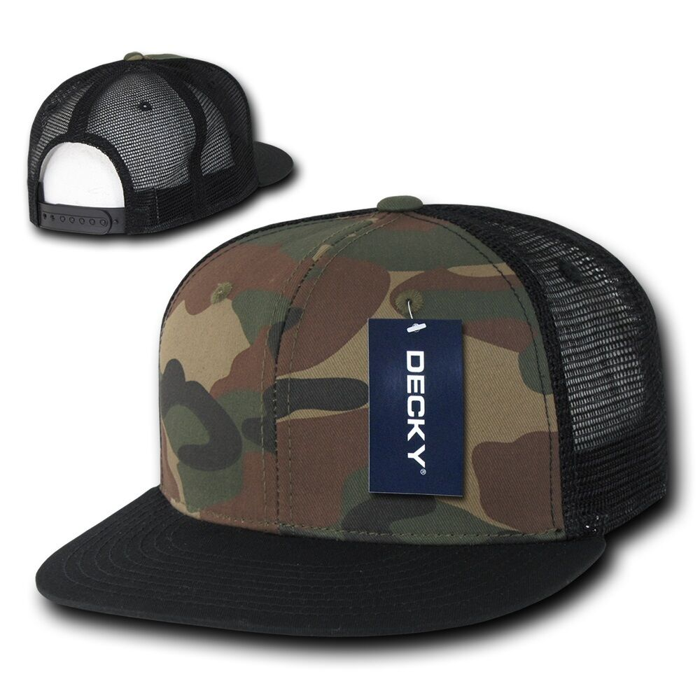 4c2ea5eadc7 Details about DECKY Camouflage FLAT Bill Trucker Hat 6 Panel Mesh Snapback  Hats Camo Army Cap