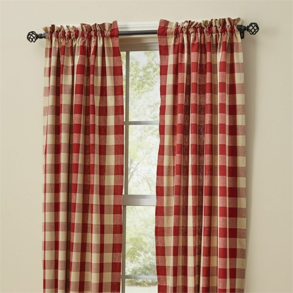 Red Buffalo Check Curtains 84 Quot X 72 Quot Country Tan Plaid