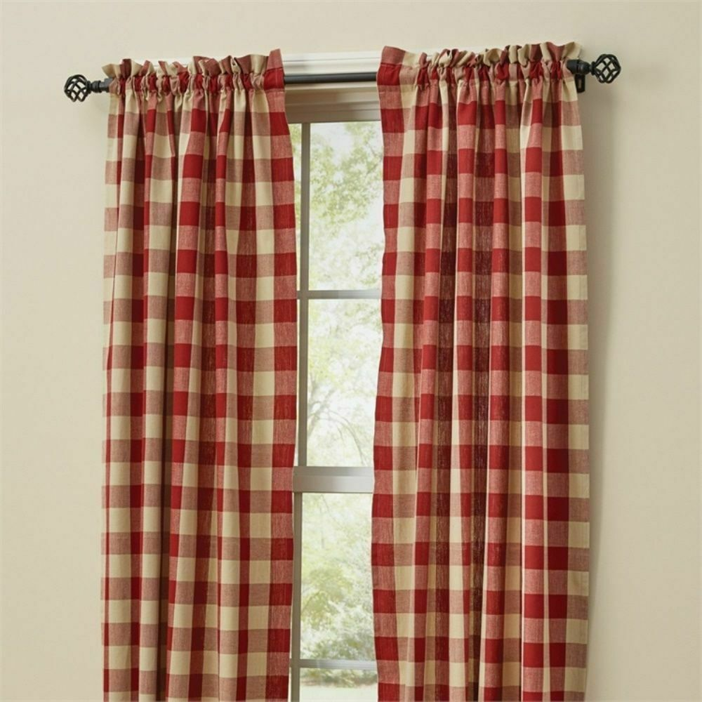 "RED BUFFALO CHECK CURTAINS : 84"" X 72"" COUNTRY TAN PLAID"