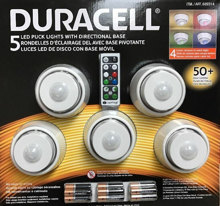 duracell 5 led wireless puck lights with remote control white wall porch light ebay - Led Puck Lights