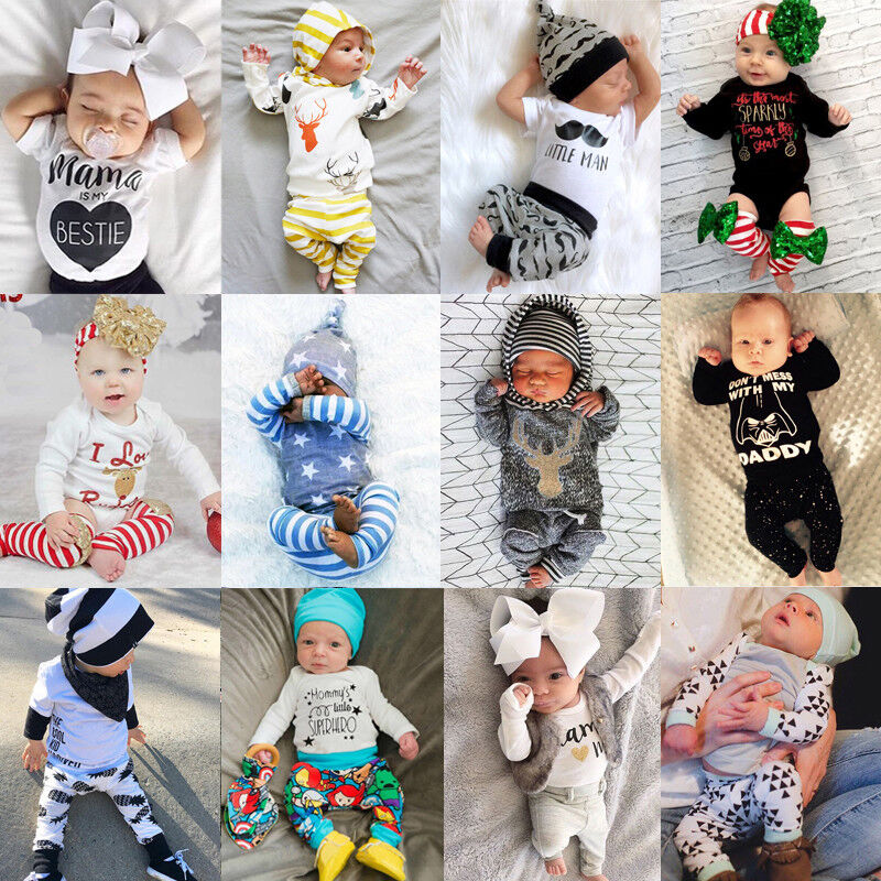 Newborn Infant Baby Boys Girls Top Rompers Long Pants