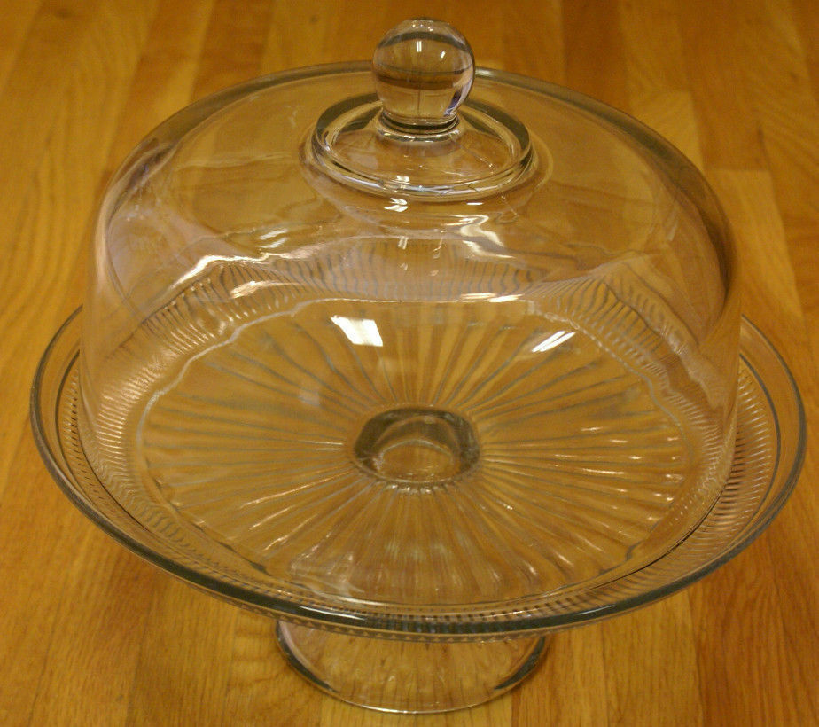new anchor hocking canton clear glass cake plate with dome cover lid ebay. Black Bedroom Furniture Sets. Home Design Ideas