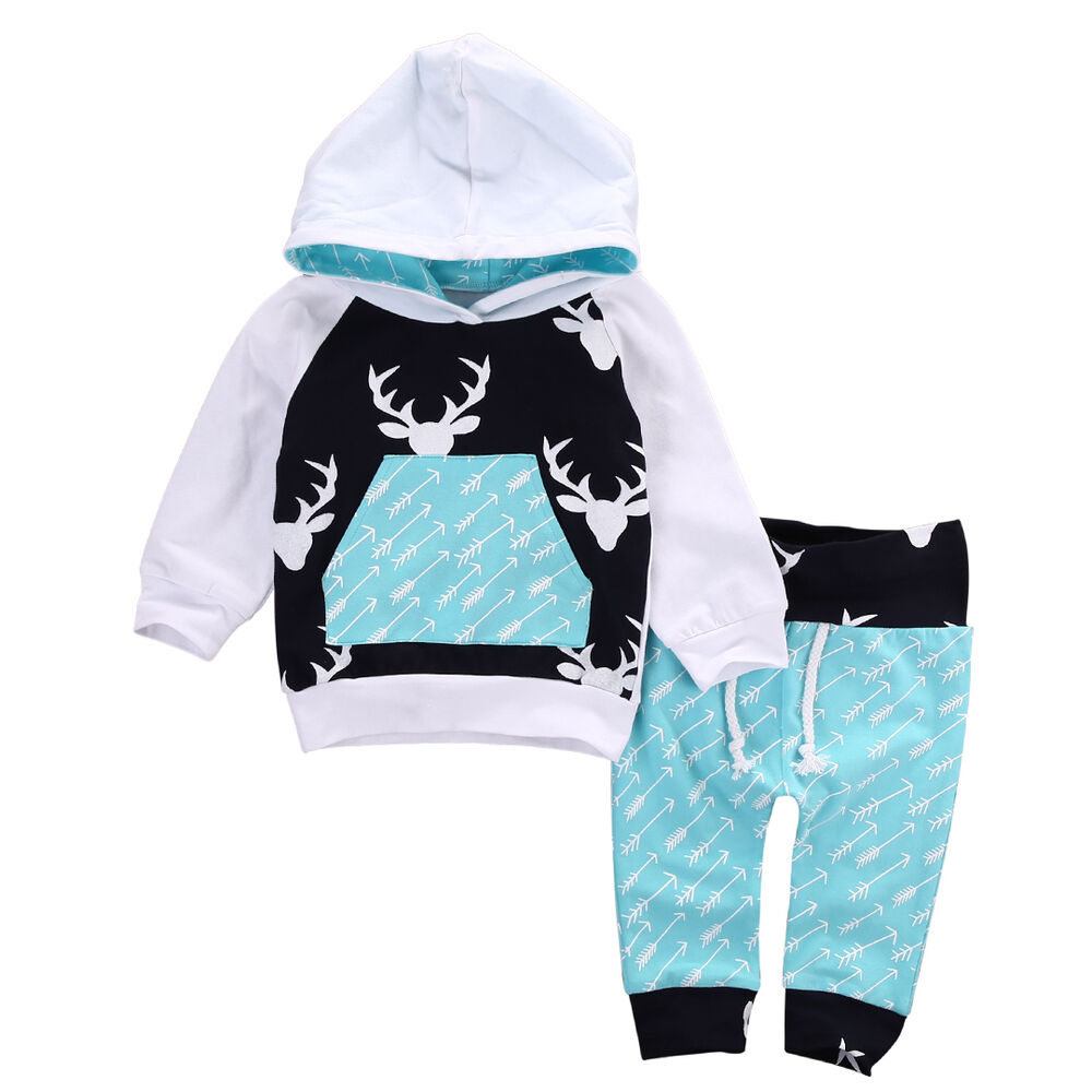 US Stock Toddler Baby Boys Hoodie Tops Pants Home Outfits ...