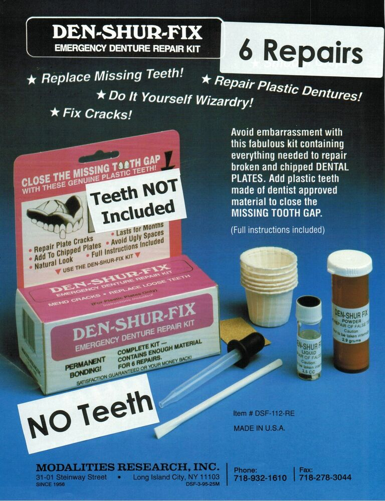 DEN SHUR FIX Emergency Denture Repair Kit -6 Repairs