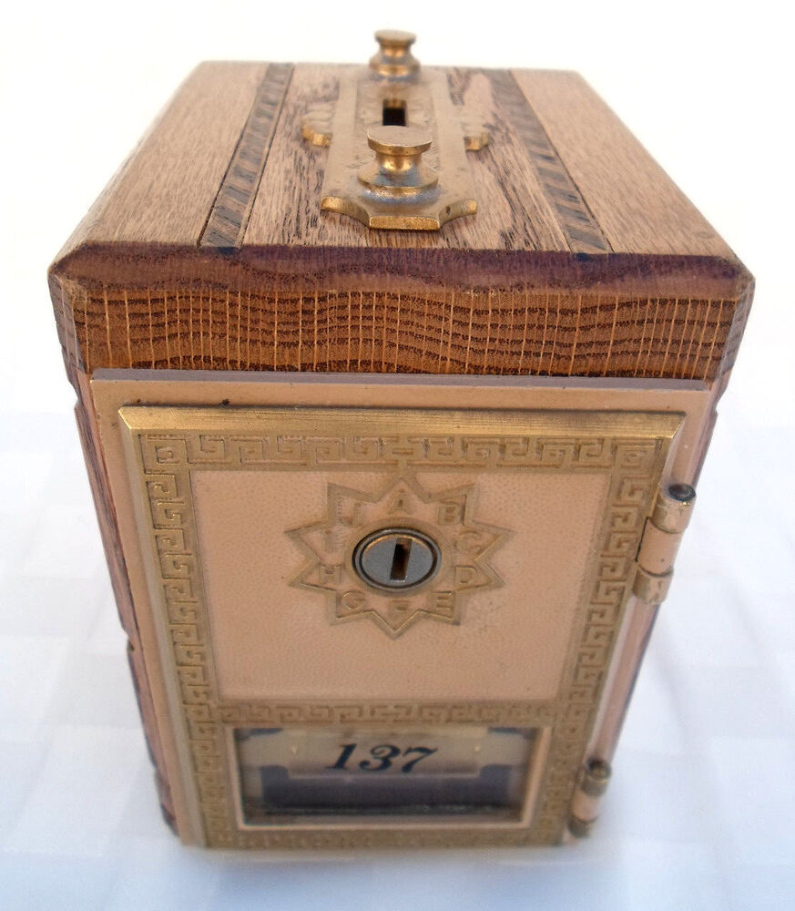 u s post office box vintage coin bank wood brass. Black Bedroom Furniture Sets. Home Design Ideas