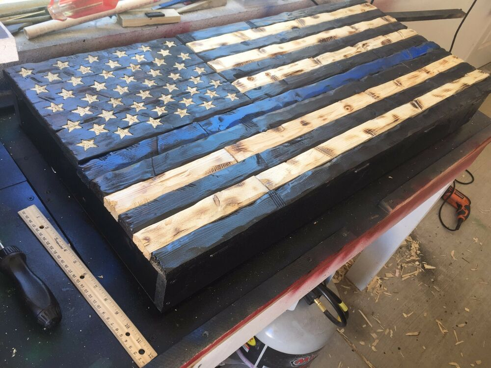 Thin Blue Line Gun Safe Hand Carved Rustic American Wooden