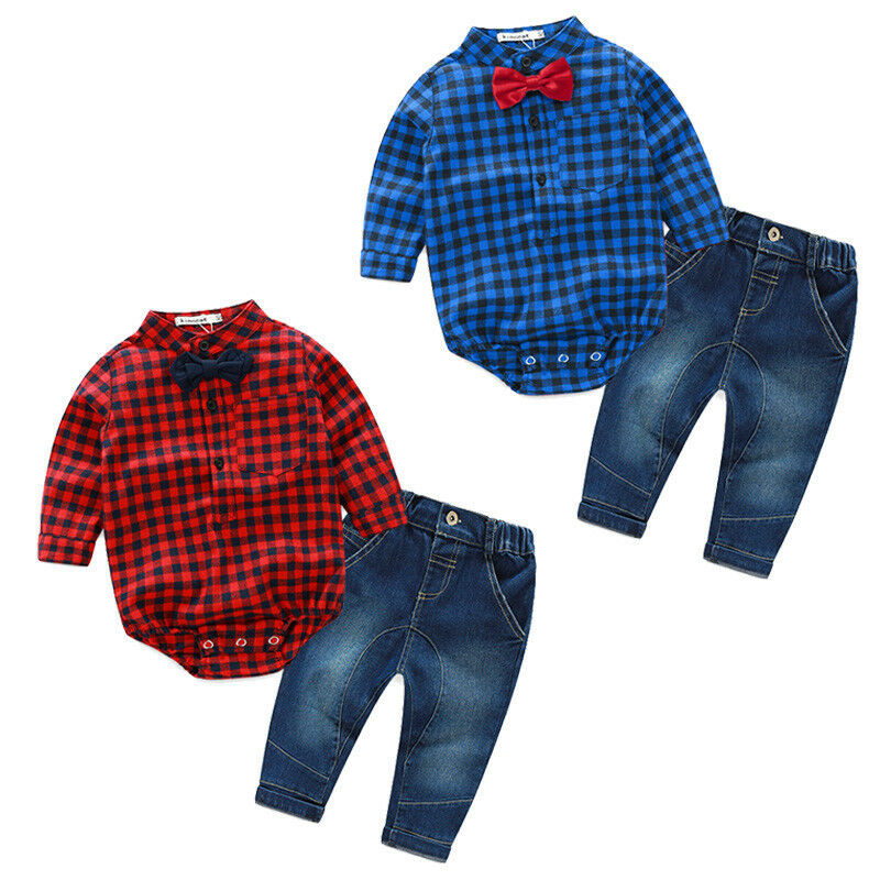 2pcs newborn baby boy clothes plaid romper bodysuit tops