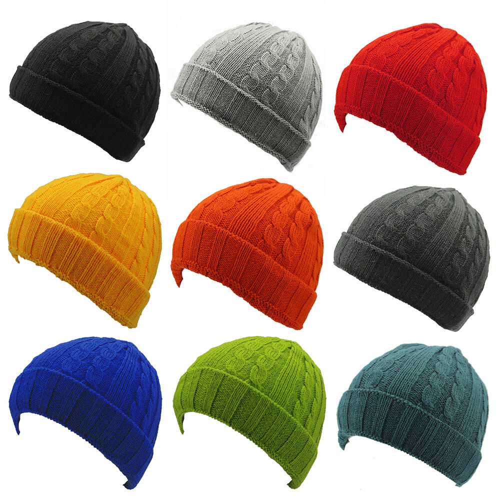 7d443da886d Details about NEW  PLAIN  BEANIE HAT KNITTED WINTER WOOLY CAP WARM FITTED  WOOLLY TURN UP