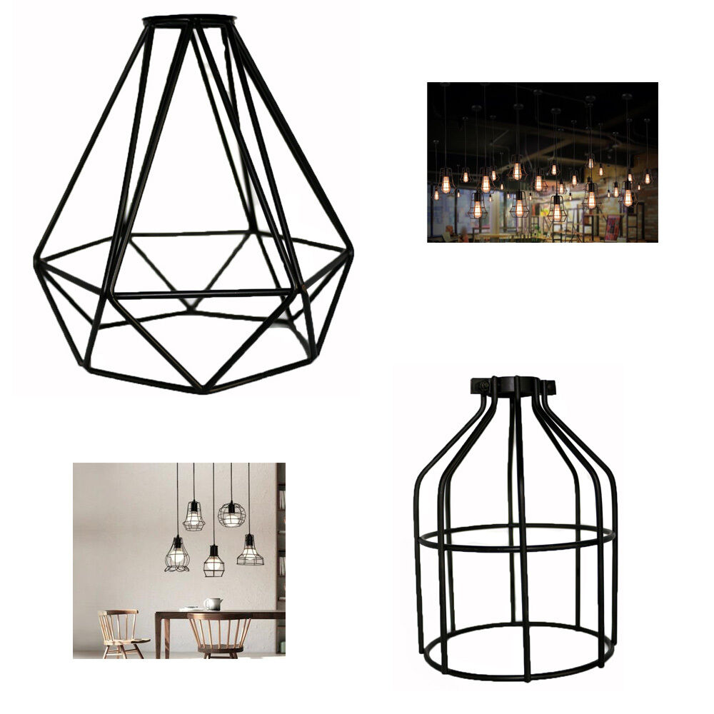 Retro Industrial Geometric Pendant Lamp Vintage Ceiling Light Bulb Room Cage On Wiring Led Lights Iron Ebay