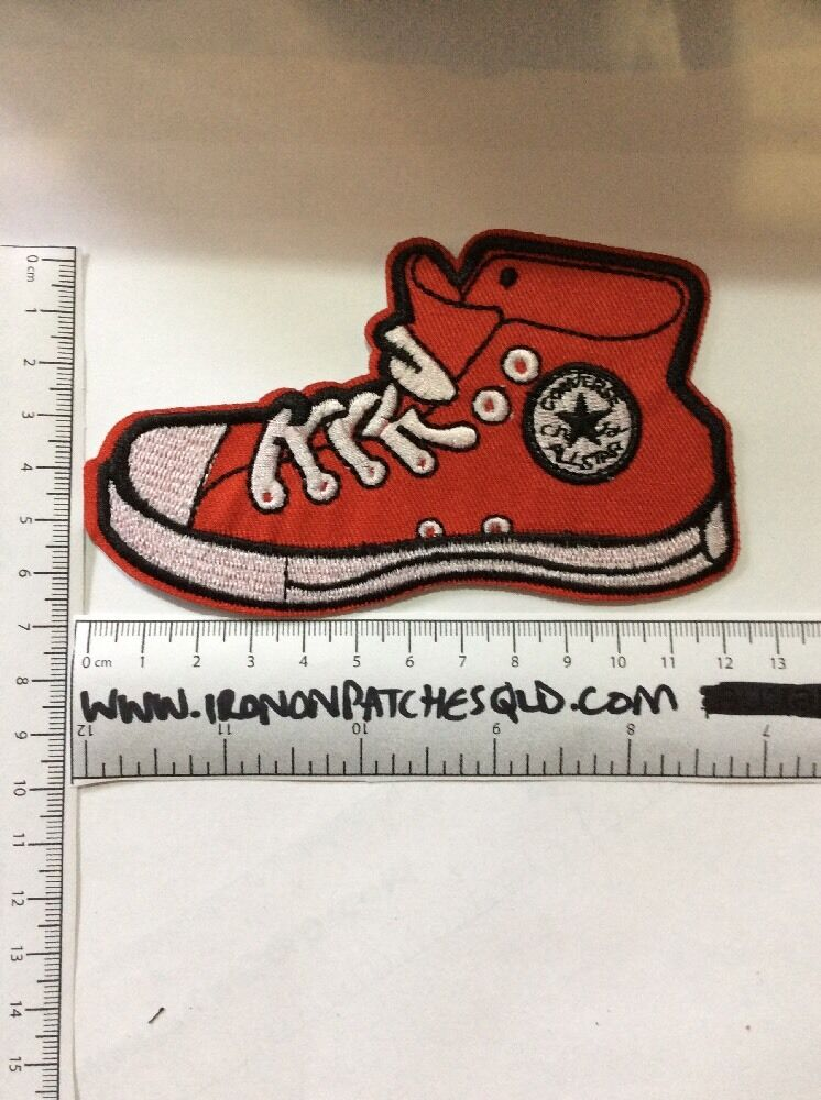 b4f2a9413137 Iron On Patch Converse Red Shoe Sew Appliqué Embroidered