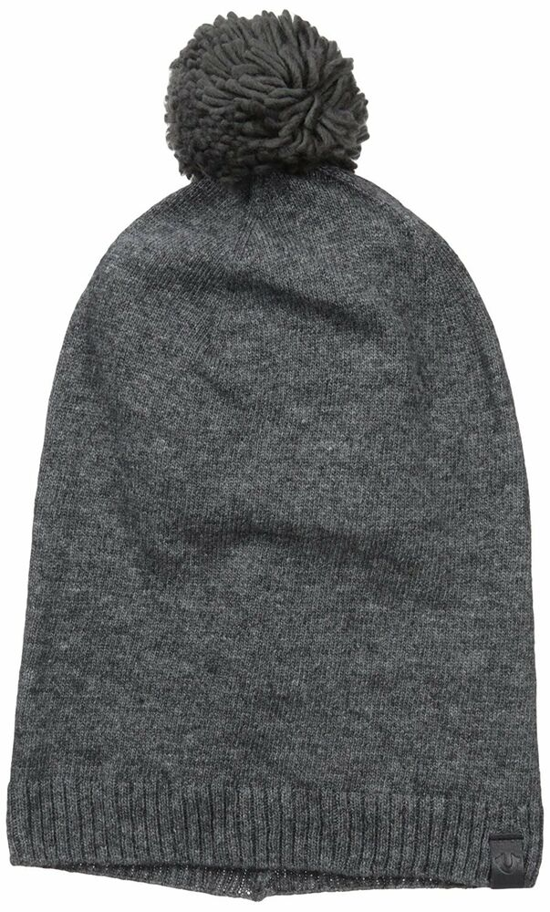 d008dd5e498fc Details about NWT True Religion Slouchy Beanie With Pom Charcoal Heather Gray  Winter Cap Hat