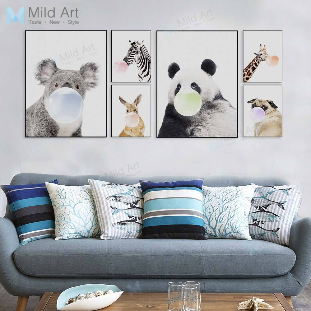 Cute animal panda koala dog a4 poster canvas art nordic kids room decor painting ebay for Canvas prints childrens bedrooms