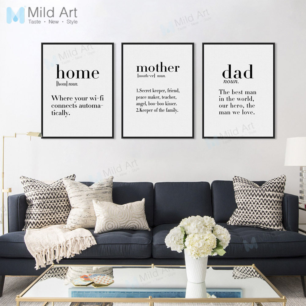 Mother Life Coffee Love Quotes Poster Nordic Home Decor Wall Art
