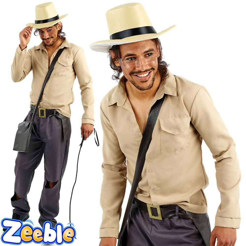 mens indiana jones costume explorer jungle fancy dress outfit 1980s movie theme ebay. Black Bedroom Furniture Sets. Home Design Ideas