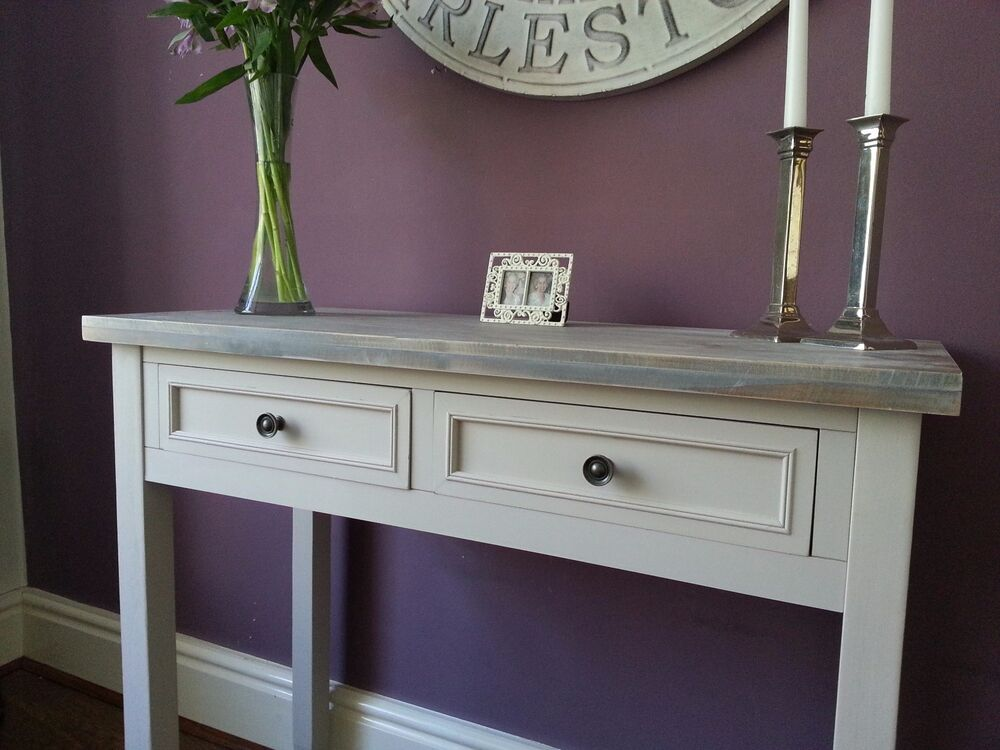 Contemporary Grey Hall Console Vanity Table Home Furniture Wood 2 Drawers Ebay